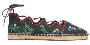 Tory Burch Gillie Lace-Up Embellished Canvas Espadrilles