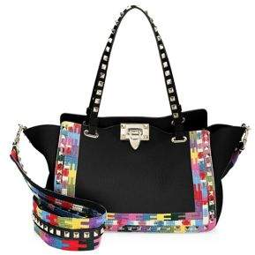 Valentino Multicolored Studded Leather Satchel