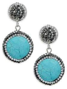 Glossy Turquoise Drop Earrings