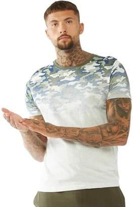Brave Soul Mens Camo Fade Print T-Shirt Khaki Camo