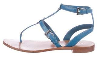 Prada Leather Strap Sandals Blue Leather Strap Sandals