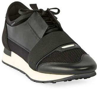 Balenciaga Men's Race Runner Mesh & Leather Sneakers