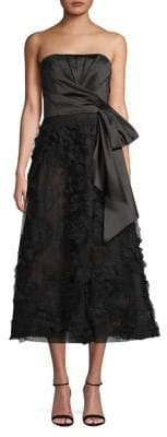 Marchesa Embroidered Fit--Flare Dress