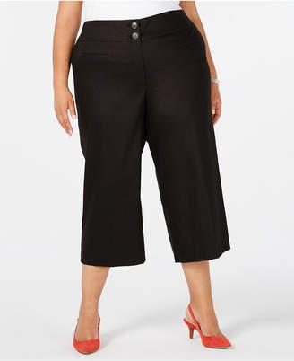 Alfani Plus Size High-Waist Wide-Leg Capris