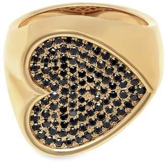 Black Diamond Established Sideways Heart Ring - Yellow Gold