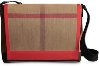 Burberry Medium Leather Trim Check Messenger Bag