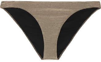 Rochelle Sara The Mercer Metallic Ribbed Bikini Briefs - Gold