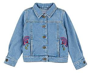 Victoria Road Kids' Zinnia-Embroidered Denim Jacket-Blue