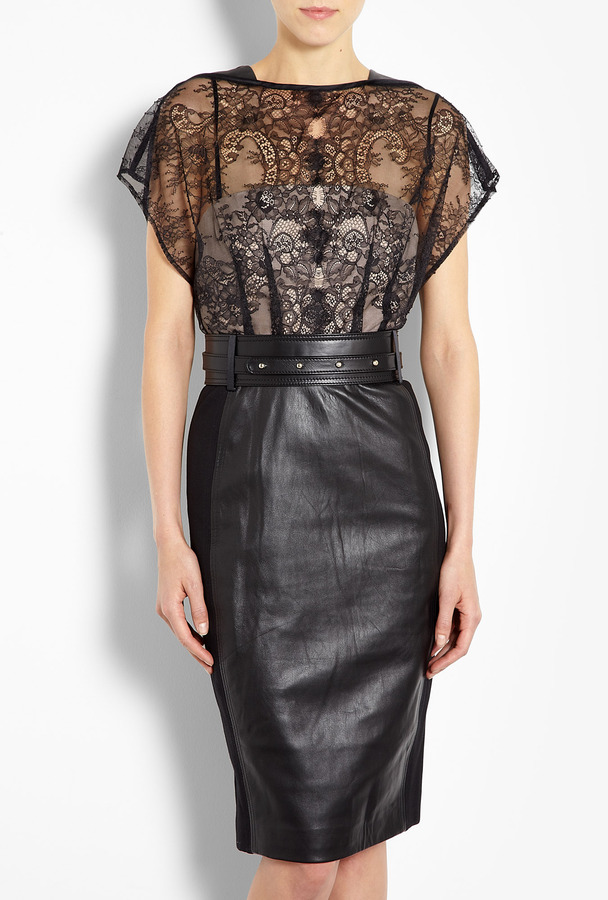 Catherine Deane Mandy Lace And Leather Dress With Studded Belt
