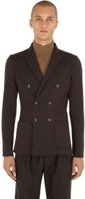 Lardini Unlined Double Breasted Knit Wool Jacket