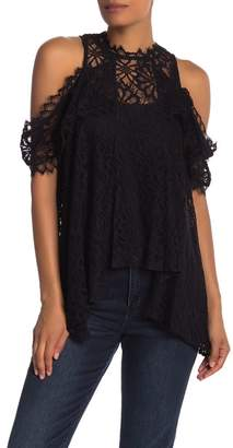 Nicole Miller Cold Shoulder Lace Knit Ruffle Blouse