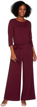 Joan Rivers Classics Collection Joan Rivers Petite Length Jersey Knit Jumpsuit with 3/4 Sleeves
