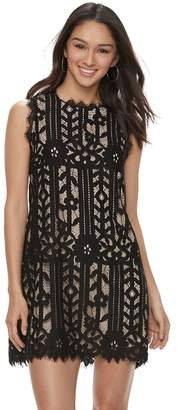 Speechless Juniors' Floral Lace Shift Dress