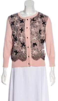 Oscar de la Renta Cashmere & Silk-Blend Lace-Trimmed Cardigan