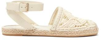Valentino Macrame And Leather Espadrilles - Womens - Cream