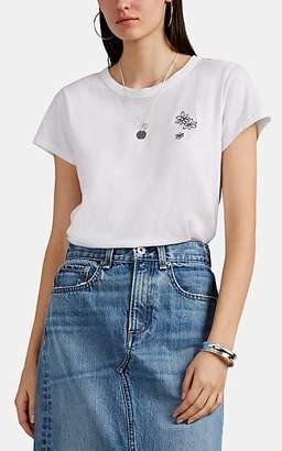 "Rag & Bone Women's ""Flower Cluster"" Slub Pima Cotton Jersey T-Shirt - White"