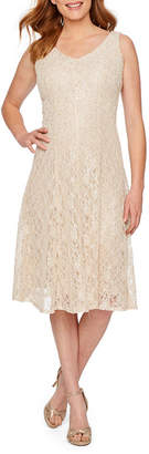 J Taylor Sleeveless Lace Fit & Flare Dress