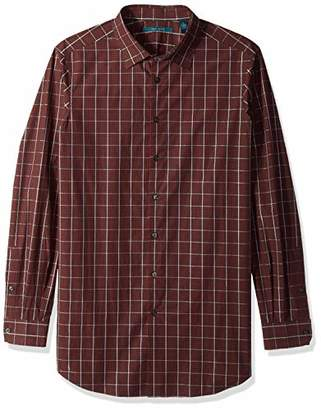 Perry Ellis Men's Big and Tall Long Sleeve Plaid Mulit Color Shirt