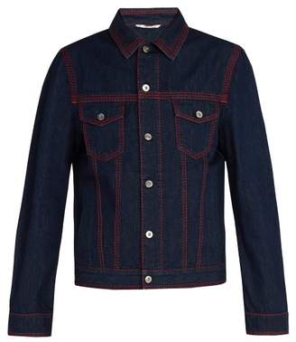 Valentino Contrast Topstitched Denim Jacket - Mens - Navy