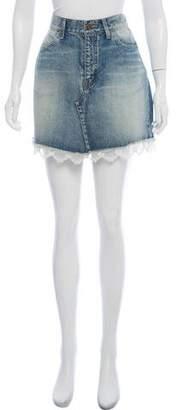 Saint Laurent Lace-Trimmed Mini Skirt