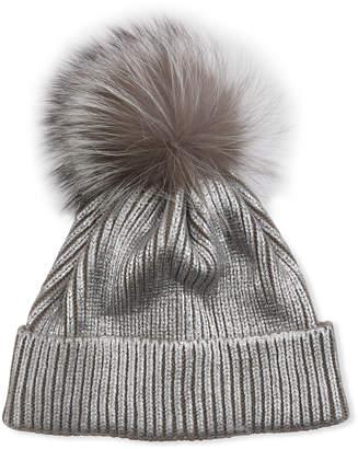 Adrienne Landau Metallic Knit Beanie with Fur Pompom
