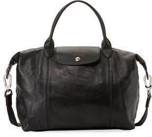 Longchamp Le Pliage Cuir Medium Handbag with Shoulder Strap