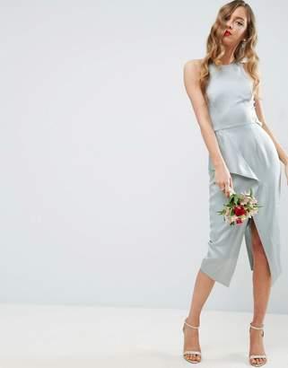Asos Design Bridesmaid Cami Drape Back Pencil Midi Dress