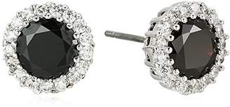 Kenneth Jay Lane Cz By Women's Round Black Cubic Zirconia Stud Earrings With Halo
