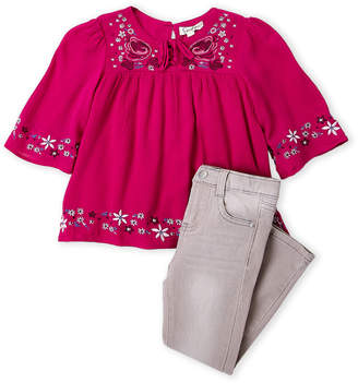Jessica Simpson Girls 4-6x) Two-Piece Embroidered Top & Jeans Set