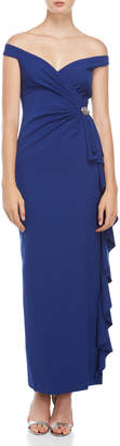 Vince Camuto Navy Brooch Gown