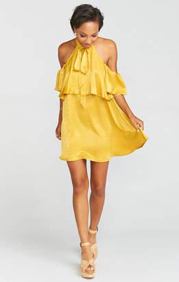 Show Me Your Mumu Kaitlin Ruffle Dress ~ Mustard Sheen