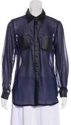 Style Stalker StyleStalker Leather Trimmed Button-Up Top