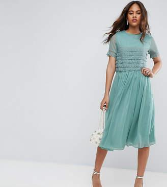 Asos Tall TALL SALON Layer Lace Crop Top Midi Prom Dress