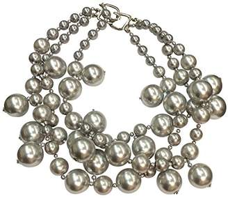 Kenneth Jay Lane 3 Strand Silver (Light Gray) Pearl Cluster Drops Necklace-14kt Gold Plate
