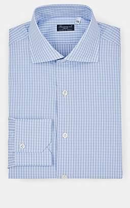 Finamore Men's Checked Cotton Dress Shirt - Blue