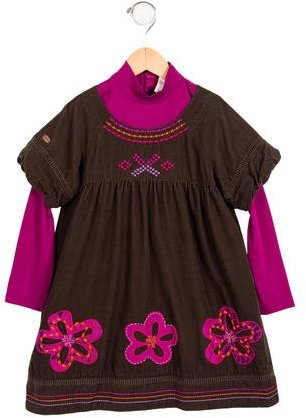 Catimini Catimini Girls' Corduroy Embroidered Dress