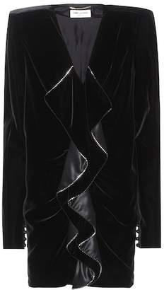 Saint Laurent Embellished velvet minidress