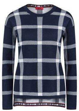 HUGO Boss Relaxed-fit checkered sweater in a stretch-cotton L Patterned