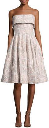 Badgley Mischka Strapless Floral Jacquard Cocktail Dress, Beige/Multicolor