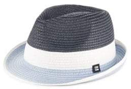 Block Headwear Colorblock Braided Straw Trilby