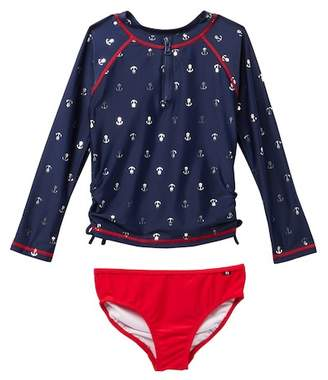 Nautica Anchor Print Rashguard & Bottom Set (Toddler Girls)