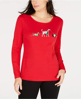 Karen Scott Holiday Dog Walk Top, Created for Macy's