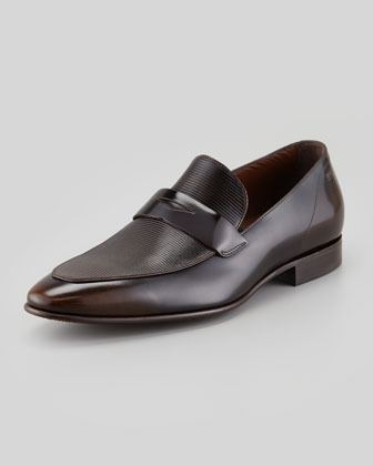 HUGO BOSS Etched Vamp Penny Loafer, Dark Brown