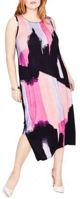 Rachel Roy Draped Back Print Midi Dress