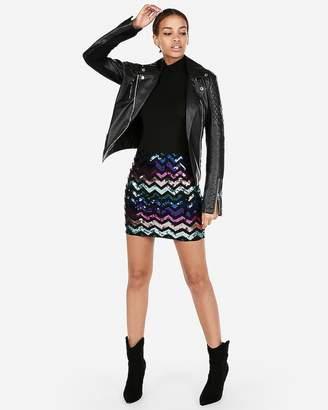 Express High Waisted Zigzag Sequin Mini Skirt