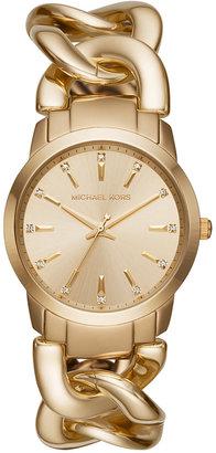 Michael Kors Women's Elena Gold-Tone Stainless Steel Chain Bracelet Watch 35mm MK3608 $250 thestylecure.com
