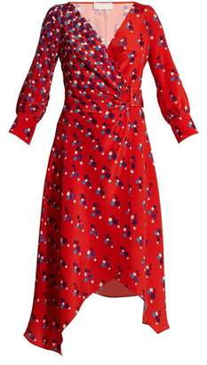 Peter Pilotto Polka Dot Print Silk Crepe Wrap Dress - Womens - Red Print