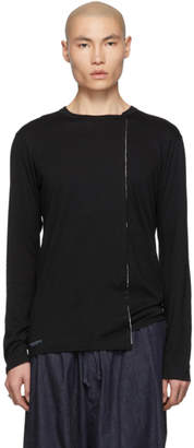 Yohji Yamamoto Black Vertical Long Sleeve T-Shirt