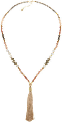 Nakamol Long Beaded Tassel Necklace, Nude Mix $55 thestylecure.com