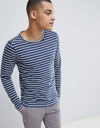 Selected Long Sleeve Top With Stripe